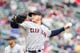 Sep 28, 2013; Minneapolis, MN, USA; Cleveland Indians pitcher Scott Kazmir (26) delivers a pitch in the first inning against the Minnesota Twins at Target Field. Mandatory Credit: Brad Rempel-USA TODAY Sports