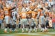 Sep 28, 2013; Knoxville, TN, USA; Tennessee Volunteers defensive back Brian Randolph (37) is congratulated by team mates after he intercepted a South Alabama Jaguars pass during the fourth quarter at Neyland Stadium. Tennessee won 31 to 24. Mandatory Credit: Randy Sartin-USA TODAY Sports