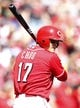Sep 28, 2013; Cincinnati, OH, USA; Cincinnati Reds center fielder Shin-Soo Choo (17) in the on deck circle during the third inning against the Pittsburgh Pirates at Great American Ball Park. Mandatory Credit: Frank Victores-USA TODAY Sports