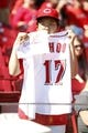 Sep 28, 2013; Cincinnati, OH, USA; A fan holds up a sign for Cincinnati Reds center fielder Shin-Soo Choo (not pictured) during the third inning against the Pittsburgh Pirates at Great American Ball Park. Mandatory Credit: Frank Victores-USA TODAY Sports