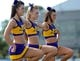 Sep 28, 2013; Chapel Hill, NC, USA; East Carolina Pirates cheerleaders perform during a game against the North Carolina Tarheels at Kenan Memorial Stadium.  ECU won 55-31. Mandatory Credit: Rob Kinnan-USA TODAY Sports