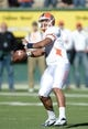 Sep 28, 2013; Fort Collins, CO, USA; UTEP Miners quarterback Jameill Showers (1) prepares to throw deep for a touchdown to wide receiver Jordan Leslie (9) (not pictured) against the Colorado State Ramsin the third quarter at Hughes Stadium. Mandatory Credit: Ron Chenoy-USA TODAY Sports
