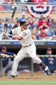 Sep 28, 2013; Minneapolis, MN, USA; Minnesota Twins third baseman Trevor Plouffe (24) at bat in the first inning against the Cleveland Indians at Target Field. Mandatory Credit: Brad Rempel-USA TODAY SportsThe Cleveland Indians won 5-1.
