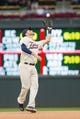 Sep 28, 2013; Minneapolis, MN, USA; Minnesota Twins third baseman Trevor Plouffe (24) catches the fly ball in the seventh inning against the Cleveland Indians at Target Field. Mandatory Credit: Brad Rempel-USA TODAY Sports