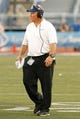 Sep 28, 2013; Buffalo, NY, USA; Buffalo Bulls head coach Jeff Quinn on the sideline during the second half against the Connecticut Huskies at University of Buffalo Stadium. Buffalo beat Connecticut 41-12. Mandatory Credit: Kevin Hoffman-USA TODAY Sports