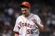 Sep 28, 2013; Houston, TX, USA; Houston Astros relief pitcher Paul Clemens (56) walks off the mound during the second inning against the New York Yankees at Minute Maid Park. Mandatory Credit: Troy Taormina-USA TODAY Sports