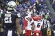 Sep 28, 2013; Seattle, WA, USA; Arizona Wildcats running back Ka'Deem Carey (25) celebrates a rushing touchdown against the Washington Huskies during the second quarter at Husky Stadium. Mandatory Credit: Joe Nicholson-USA TODAY Sports