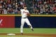 Sep 28, 2013; Atlanta, GA, USA; Atlanta Braves shortstop Andrelton Simmons (19) throws a runner out at first against the Philadelphia Phillies in the sixth inning at Turner Field. Mandatory Credit: Brett Davis-USA TODAY Sports