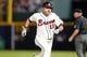 Sep 28, 2013; Atlanta, GA, USA; Atlanta Braves catcher Gerald Laird (11) runs to third against the Philadelphia Phillies in the fourth inning at Turner Field. Mandatory Credit: Brett Davis-USA TODAY Sports