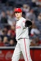 Sep 28, 2013; Atlanta, GA, USA; Philadelphia Phillies relief pitcher Jonathan Papelbon (58) in action against the Atlanta Braves in the ninth inning at Turner Field. The Phillies defeated the Braves 5-4. Mandatory Credit: Brett Davis-USA TODAY Sports