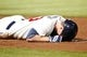 Sep 28, 2013; Atlanta, GA, USA; Atlanta Braves third baseman Chris Johnson (23) reacts after being called out at first to end the game against the Philadelphia Phillies in the ninth inning at Turner Field. The Phillies defeated the Braves 5-4. Mandatory Credit: Brett Davis-USA TODAY Sports