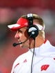 Sep 28, 2013; Columbus, OH, USA; Wisconsin Badgers head coach Gary Andersen on the sidelines during the fourth quarter against the Ohio State Buckeyes at Ohio Stadium. Ohio State Buckeyes defeated Wisconsin Badgers 31-24. Mandatory Credit: Andrew Weber-USA TODAY Sports