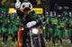 Sep 28, 2013; Eugene, OR, USA; Oregon Ducks mascot rides out on a motorcycle against the California Golden Bears at Autzen Stadium. Mandatory Credit: Scott Olmos-USA TODAY Sports