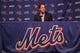 Sep 29, 2013; New York, NY, USA; New York Mets former catcher Mike Piazza speaks to the media about being inducted into the Mets Hall of Fame prior to the game against the Milwaukee Brewers at Citi Field. Mandatory Credit: Brad Penner-USA TODAY Sports