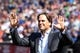 Sep 29, 2013; New York, NY, USA; New York Mets former catcher Mike Piazza acknowledges the fans during his induction into the Mets Hall of Fame prior to the game against the Milwaukee Brewers at Citi Field. Mandatory Credit: Brad Penner-USA TODAY Sports