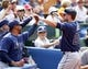 Sep 29, 2013; Toronto, Ontario, CAN; Tampa Bay Rays right fielder Matt Joyce (20) is congratulated after scoring against the Toronto Blue Jays during the first inning at Rogers Centre. Mandatory Credit: John E. Sokolowski-USA TODAY Sports