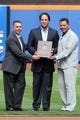 Sep 29, 2013; New York, NY, USA; New York Mets former pitcher John Franco (left), former catcher Mike Piazza (center), and former second baseman Edgardo Alfonzo during Piazza's Mets Hall of Fame induction ceremony prior to the game against the Milwaukee Brewers at Citi Field. The Mets won 3-2. Mandatory Credit: Brad Penner-USA TODAY Sports