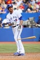 Sep 29, 2013; Toronto, Ontario, CAN; Toronto Blue Jays first baseman Ryan Langerhans (18) walks in the eighth inning against the Tampa Bay Rays at Rogers Centre. Tampa defeated Toronto 7-6. Mandatory Credit: John E. Sokolowski-USA TODAY Sports
