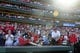 Sep 29, 2013; St. Louis, MO, USA; St. Louis Cardinals fan reach for a baseball thrown into the stands after defeating the Chicago Cubs at Busch Stadium. St. Louis defeated Chicago 4-0 and clinched the best record in the National League. Mandatory Credit: Jeff Curry-USA TODAY Sports