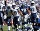 Sep 29, 2013; San Diego, CA, USA;  San Diego Chargers defensive end Kendall Reyes (91) celebrates sacking Dallas Cowboys quarterback Tony Romo (9) during first half action at Qualcomm Stadium. Mandatory Credit: Robert Hanashiro-USA TODAY Sports