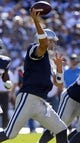 Sep 29, 2013; San Diego, CA, USA; Dallas Cowboys quarterback Tony Romo (9) throws a pass during second half action against the San Diego Chargers at Qualcomm Stadium.  Mandatory Credit: Robert Hanashiro-USA TODAY Sports