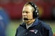 Sep 29, 2013; Atlanta, GA, USA; New England Patriots head coach Bill Belichick shown on the sideline against the Atlanta Falcons during the second half at Georgia Dome. The Patriots defeated the Falcons 30-23. Mandatory Credit: Dale Zanine-USA TODAY Sports