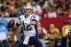 Sep 29, 2013; Atlanta, GA, USA; New England Patriots quarterback Tom Brady (12) throws a pass in the second half against the Atlanta Falcons at the Georgia Dome. The Patriots won 30-23. Mandatory Credit: Daniel Shirey-USA TODAY Sports