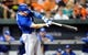 Sep 25, 2013; Baltimore, MD, USA; Toronto Blue Jays third baseman Brett Lawrie (13) bats in the first inning against the Baltimore Orioles at Oriole Park at Camden Yards. The Orioles defeated the Blue Jays 9-5. Mandatory Credit: Joy R. Absalon-USA TODAY Sports