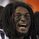 Aug 9, 2013; Minneapolis, MN, USA; Houston Texans safety D.J. Swearinger (36) laughs during the fourth quarter against the Minnesota Vikings at the Metrodome. Mandatory Credit: Brace Hemmelgarn-USA TODAY Sports