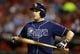 Sep 30, 2013; Arlington, TX, USA; Tampa Bay Rays third baseman Evan Longoria at bat during the seventh inning against the Texas Rangers at Rangers Ballpark at Arlington. Mandatory Credit: Tim Heitman-USA TODAY Sports
