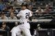 Sep 26, 2013; Bronx, NY, USA; New York Yankees second baseman Robinson Cano (24) bats against the Tampa Bay Rays during a game at Yankee Stadium. Mandatory Credit: Brad Penner-USA TODAY Sports