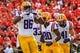 Sep 28, 2013; Athens, GA, USA; LSU Tigers wide receiver Kadron Boone (86) celebrates a touchdown in the first half against the Georgia Bulldogs at Sanford Stadium. Georgia won 44-41. Mandatory Credit: Daniel Shirey-USA TODAY Sports