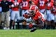 Sep 28, 2013; Athens, GA, USA; Georgia Bulldogs wide receiver Justin Scott-Wesley (86) makes a catch in the second half against the LSU Tigers at Sanford Stadium. Georgia won 44-41. Mandatory Credit: Daniel Shirey-USA TODAY Sports