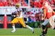 Sep 28, 2013; Athens, GA, USA; LSU Tigers running back Jeremy Hill (33) runs the ball in the second half against the Georgia Bulldogs at Sanford Stadium. Georgia won 44-41. Mandatory Credit: Daniel Shirey-USA TODAY Sports