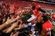 Sep 28, 2013; Athens, GA, USA; Georgia Bulldogs cornerback Damian Swann (5) and safety Tray Matthews (28) celebrate beating the LSU Tigers at Sanford Stadium. Georgia won 44-41. Mandatory Credit: Daniel Shirey-USA TODAY Sports