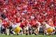 Sep 28, 2013; Athens, GA, USA; Georgia Bulldogs quarterback Aaron Murray (11) calls a play at the line in the first half against the LSU Tigers at Sanford Stadium. Georgia won 44-41. Mandatory Credit: Daniel Shirey-USA TODAY Sports