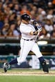 Sep 17, 2013; Detroit, MI, USA; Detroit Tigers second baseman Omar Infante (4) at bat against the Seattle Mariners at Comerica Park. Mandatory Credit: Rick Osentoski-USA TODAY Sports