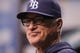 Sep 16, 2013; St. Petersburg, FL, USA; Tampa Bay Rays manager Joe Maddon (70) against the Texas Rangers at Tropicana Field. Mandatory Credit: Kim Klement-USA TODAY Sports