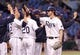 Sep 16, 2013; St. Petersburg, FL, USA; Tampa Bay Rays right fielder Wil Myers (9) high fives after they beat the Texas Rangers at Tropicana Field. Tampa Bay Rays defeated the Texas Rangers 6-2. Mandatory Credit: Kim Klement-USA TODAY Sports