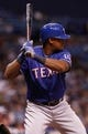 Sep 18, 2013; St. Petersburg, FL, USA; Texas Rangers third baseman Adrian Beltre (29) at bat against the Tampa Bay Rays at Tropicana Field. Tampa Bay Rays defeated the Texas Rangers 4-3 in twelve inning. Mandatory Credit: Kim Klement-USA TODAY Sports