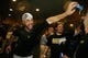 Oct 1, 2013; Pittsburgh, PA, USA; Pittsburgh Pirates first baseman Garrett Jones (left) and right fielder Travis Snider (right) celebrate in the clubhouse after defeating the Cincinnati Reds in the National League wild card playoff baseball game at PNC Park. The Pirates won 6-2. Mandatory Credit: Charles LeClaire-USA TODAY Sports