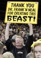 Oct 1, 2013; Pittsburgh, PA, USA; Pittsburgh Pirates fan Mike Breen holds up a sign after the National League wild card playoff baseball game against the Cincinnati Reds at PNC Park. The Pirates won 6-2. Mandatory Credit: Charles LeClaire-USA TODAY Sports