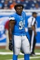Sep 29, 2013; Detroit, MI, USA; Detroit Lions defensive end Ezekiel Ansah (94) before the game against the Chicago Bears at Ford Field. Mandatory Credit: Rick Osentoski-USA TODAY Sports