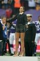 Sep 29, 2013; London, UNITED KINGDOM; Recording artist Laura Wright sings God Save the Queen before the NFL International Series game between the Pittsburgh Steelers and the Minnesota Vikings at Wembley Stadium. Mandatory Credit: Kirby Lee-USA TODAY Sports