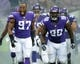 Sep 29, 2013; London, UNITED KINGDOM; Minnesota Vikings defensive end Everson Griffen (97) and nose tackle Letory Guion (98) run onto the field before the NFL International Series game against the Pittsburgh Steelers at Wembley Stadium. The Vikings defeated the Steelers 34-27. Mandatory Credit: Kirby Lee-USA TODAY Sports
