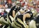 Sep 15, 2013; Tampa, FL, USA; New Orleans Saints quarterback Drew Brees (9) calls a play against the Tampa Bay Buccaneers during the second half at Raymond James Stadium. New Orleans Saints defeated the Tampa Bay Buccaneers 16-14. Mandatory Credit: Kim Klement-USA TODAY Sports