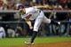 Oct 2, 2013; Cleveland, OH, USA; Cleveland Indians relief pitcher Justin Masterson delivers in the eighth inning in the American League wild card playoff game at Progressive Field. Mandatory Credit: David Richard-USA TODAY Sports