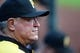 Oct 3, 2013; St. Louis, MO, USA; Pittsburgh Pirates manager Clint Hurdle (13) looks on as his team plays the St. Louis Cardinals in game one of the National League divisional series playoff baseball game at Busch Stadium. St. Louis defeated Pittsburgh 9-1. Mandatory Credit: Jeff Curry-USA TODAY Sports