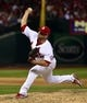 Oct 3, 2013; St. Louis, MO, USA; St. Louis Cardinals relief pitcher Trevor Rosenthal (26) delivers a pitch against the Pittsburgh Pirates in game one of the National League divisional series playoff baseball game at Busch Stadium. The Cardinals defeated the Pirates 9-1. Mandatory Credit: Scott Rovak-USA TODAY Sports