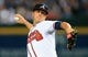 Oct 3, 2013; Atlanta, GA, USA; Atlanta Braves starting pitcher Kris Medlen (54) throws against the Los Angeles Dodgers during the fourth inning of game one of the National League divisional series playoff baseball game at Turner Field. Mandatory Credit: Daniel Shirey-USA TODAY Sports